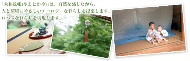 「大和蚊帳やまとかや」は、自然を感じながら、 人と環境にやさしいエコロジーな暮らしを提案します。